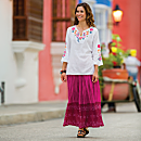 Indian Wildflower Tunic and Pink Bandhani Travel Skirt