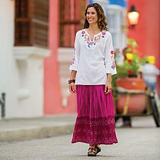 Indian Wildflower Tunic and Pink Bandhani Travel Skirt