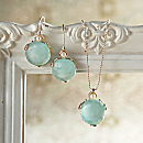Roman Glass and Pearl Necklace and Earrings