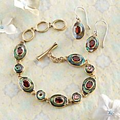 Balinese Abalone and Garnet Jewelry