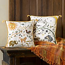 Gujarati Sun and Moon Throw Pillows