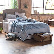 Blue Trellis Hand-printed Bedding