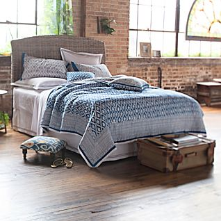Blue Trellis Hand-printed Bedding