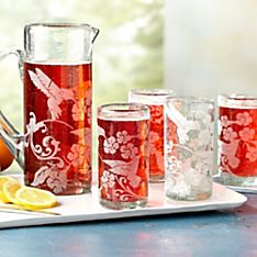 Hummingbird Pitcher and Tumblers Set
