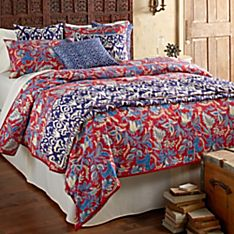 Jaipuri Red Garden Bedding Set with Bedspread and Pillow Covers