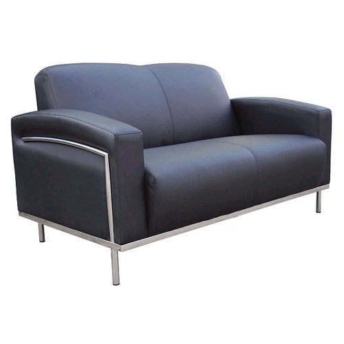Boss Black Vinyl Reception Loveseat (BR99002)