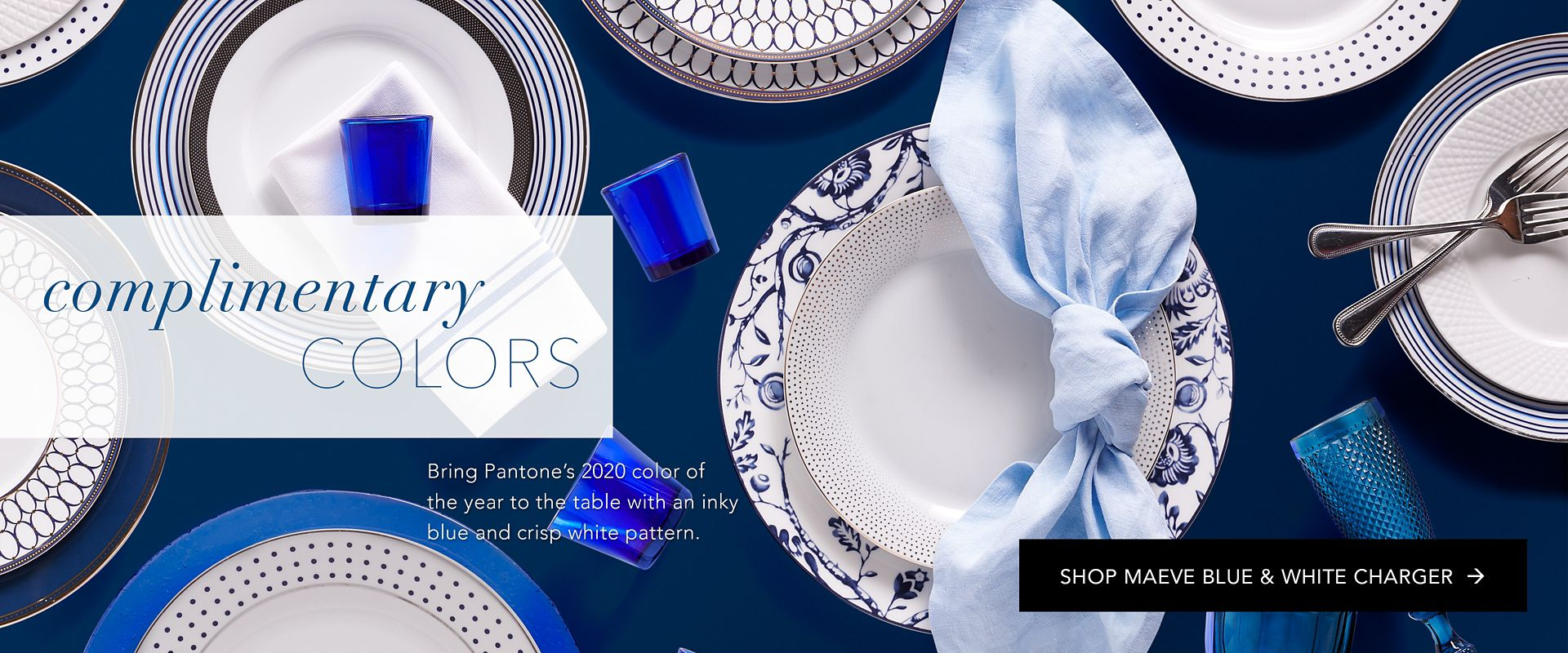 Shop Party Rental Ltd. Maeve Blue and White Charger
