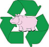 Party Rental Ltd. hippo mascot and recycle symbol