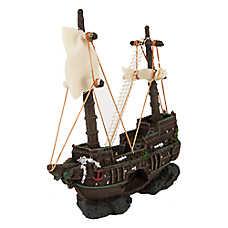 Top Fin® Rocky Ship Aquarium Ornament