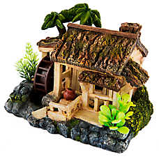 Top Fin® Tropical Wooden House Airstone Aquarium Ornament