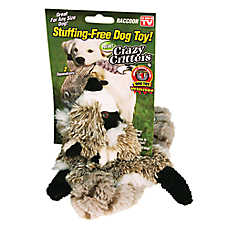 As Seen On TV Crazy Critters Raccoon Dog Toy - Stuffing-Free, Squeaker