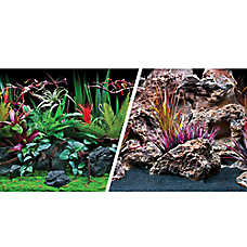 Marina® Reversible Precut Jungle Flora & Red Lava Aquarium Background