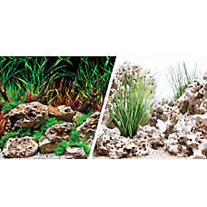 Marina® Reversible Precut Planted Hideaway & Texas Cloud Aquarium Background