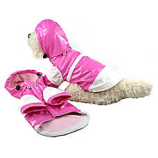 Pet Life Double-Tone Raincoat With Removable Hood