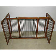 Crown Pet Products Wood & Wire Freestanding Pet Gate