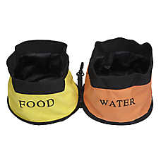Pet Life Double Bowl Waterproof Travel Pet Bowl