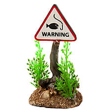 Top Fin® Fish Warning Sign Aquarium Ornament