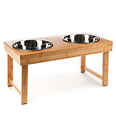Top Paw® Elevated Folding Bamboo Double Dog Diner