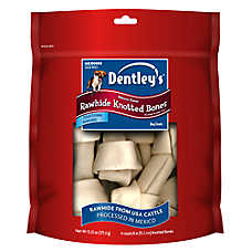 Dentley's® Natural Medium Rawhide Knotted Bones Dog Treat