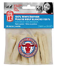 Dogit® White Beefhide Small Breed Mini Rolls Dog Treat
