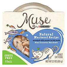 Muse® Adult Cat Food - Grain Free, Essential Nutrients, Natural Mackerel & Carrots, In Broth
