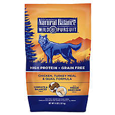 Natural Balance Wild Pursuit Dog Food - High Protein, Grain Free, Chicken, Turkey Meal & Quail