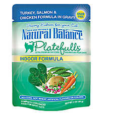 Natural Balance Platefulls Indoor Adult Cat Food - Grain Free, Turkey, Salmon & Chicken