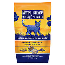 Natural Balance Wild Pursuit Cat Food - High Protein, Grain Free, Chicken, Turkey Meal & Quail
