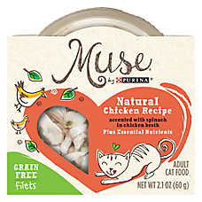 Muse® Adult Cat Food - Grain Free, Essential Nutrients, Natural Chicken with Spinach, In Broth