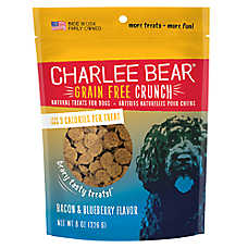 Charlee Bear Bear Crunch Dog Treat - Natural, Grain Free, Bacon & Blueberry