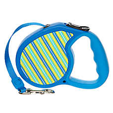 Top Paw® Retractable Fashion Blue Stripe Dog Leash