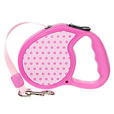 Top Paw® Retractable Fashion Pink Dot Dog Leash