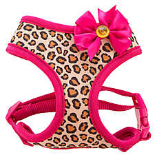 Top Paw® Leopard Bow Fabric Adjustable Dog Harness