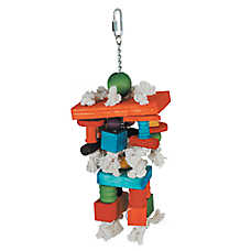 All Living Things® Colorful Blocks & Rope Bird Toy