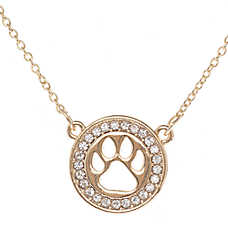Pet Friends Circle Paw Pendant Necklace