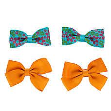 Grreat Choice™Teal Floral & Orange Hair Bows
