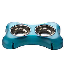 Top Paw® Steel Bone Double Diner Dog Bowl
