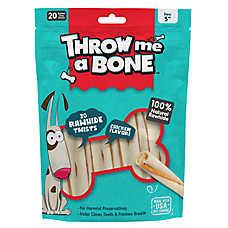 Throw Me A Bone Rawhide Twist Dog Treat - Chicken