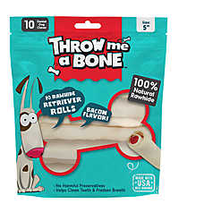 Throw Me A Bone Retriever Rolls Dog Treat - Bacon