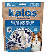 Kalos Braided Super Rawhide Dog Treat - Vanilla & Blueberry