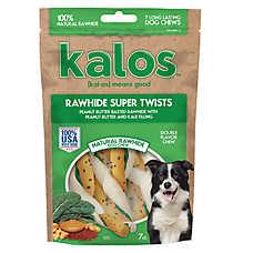 Kalos Rawhide Super Twists Dog Treat - Peanut Butter & Kale