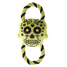 Thrills & Chills™ Pet Halloween Skull With Rope Dog Toy