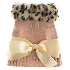 Top Paw® Fur Neck & Bow Dog Sweater