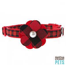 Martha Stewart Pets® Buffalo Checker Flower Dog Collar
