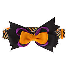 Thrills & Chills™ Pet Halloween Glitter Stripe Bow Dog Collar