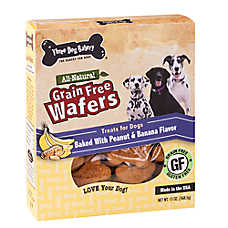 Three Dog Bakery Wafers Dog Treat - Natural, Grain Free, Peanut & Banana