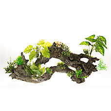 Top Fin® Gray Wood Log With Plants Aquarium Ornament