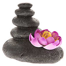 Top Fin® Zen Rocks with Lotus Flower Aquarium Ornament