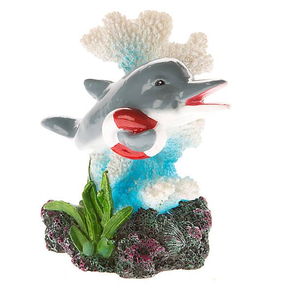 Top fin dolphin with lifesaver aquarium ornament fish for Petsmart fish decor