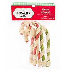 Pet Holiday™ Dentley's® Festive Rawhide Twist Cane Dog Treat